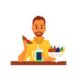 young man eating fruits and vegetables flat vector image