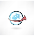around the earth grunge icon vector image
