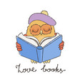 doodle owl with book in beret vector image