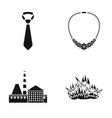 tie necklace and other web icon in black style vector image