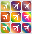 airplane icon Nine buttons with bright gradients vector image