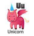 Alphabet U with unicorn vector image