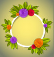 background with flowers and leaves paper cut vector image vector image