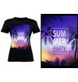 black t-shirt design with tropical sunset vector image vector image