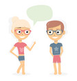 boy and girl talking dialogue of young people vector image