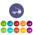 Car towing truck set icons vector image vector image