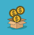 cardboard box opened with three big coins in blue vector image vector image