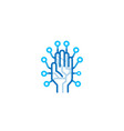 creative blue hand technology logo vector image