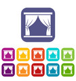 curtain on stage icons set vector image vector image