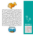 cute fish educational maze game vector image vector image