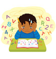 dark skinned kid struggling at school vector image