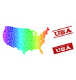 dotted spectrum map of usa and grunge stamp seals vector image