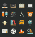 Education icons with black background eps10 vect vector image vector image