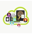 file sharing cloud storage team collaboration data vector image