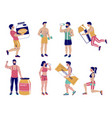 fitness people with sports nutrition flat vector image
