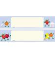 Fruits cartoon characters near menu board banner vector image vector image