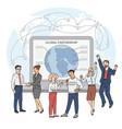 global partnership - cartoon team business vector image vector image