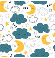 good night seamless pattern with cute vector image