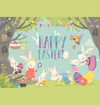 happy bunnies celebrating easter in the forest vector image