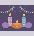 happy diwali festival lotus flowers candles vector image vector image
