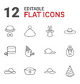 hat icons vector image vector image