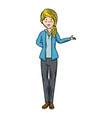 isolated standing young woman vector image vector image