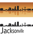 Jacksonville skyline in orange background vector image vector image