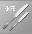 knife silver metal knife top view vector image vector image