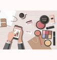 make-up products on the table online beauty shop vector image