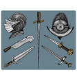 medieval symbols helmet and swords knife vintage vector image vector image