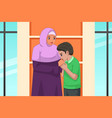 muslim boy kissing her mother hand vector image