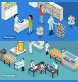 pharmaceutical production 2 isometric banners vector image vector image