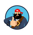 pirate thumbs up filibuster winks emoji buccaneer vector image