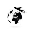 planet earth with airplane vector image vector image