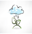 Rain and leafs grunge icon vector image vector image