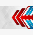red blue tech arrows abstract geometric background vector image vector image