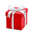 red gift box with white ribbon and bow vector image vector image