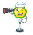 sailor with binocular road traffic sign on the vector image