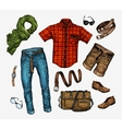 Set of trendy men s clothes Outfit man vector image