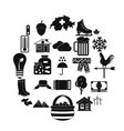 summer cottage icons set simple style vector image