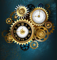 two steampunk clocks with gears vector image vector image