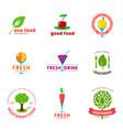 vegetarian cafe logo design set vector image