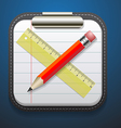 notepad pencil and ruler icon vector image