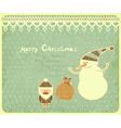 Santa Claus snowman and gift bag vector image