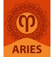 Aries Ram Zodiac icon with mandala print vector image