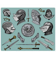 medieval symbols helmet and gloves shield with vector image