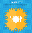 Plate icon sign Floral flat design on a blue vector image