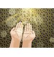 Muslim hands in pose of praying vector image