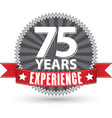 75 years experience retro label with red ribbon vector image vector image