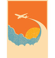 Airplane flying in sky background vector image vector image